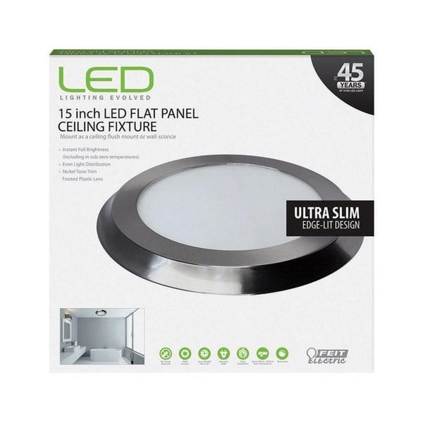 FEIT Electric LED Flat Panel Nickel Ceiling Fixture 15 in. D x 1 in. H x 15 in. W. Opens flyout.