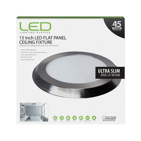FEIT Electric LED Flat Panel Nickel Ceiling Fixture 15 in. D x 1 in. H x 15 in. W