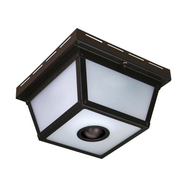 Outdoor Motion Activated Ceiling Light: Shop Heath Zenith Black Glass Motion Activated Outdoor