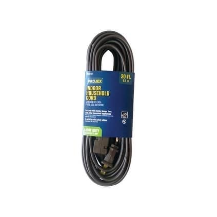Projex Indoor Extension Cord 16/2 SPT-2 20 ft. L Brown