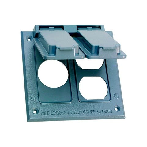 Sigma Square Aluminum 2 gang Electrical Cover For 1 Receptacle and 1 Duplex Gray