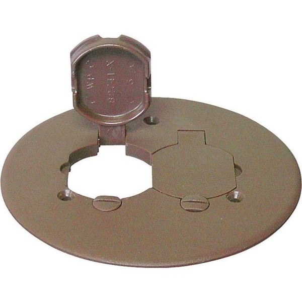 Cantex Round PVC 2 gang Duplex Floor Box Cover For Duplex Receptacle Bronze