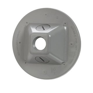 TayMac Round Plastic 1 gang Weatherproof Cover For Light Fixtures Gray