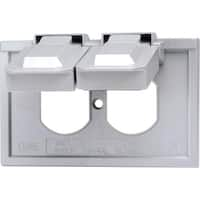 Leviton  Rectangle  Thermoplastic  1 gang Weatherproof Cover  For Duplex Receptacle Gray