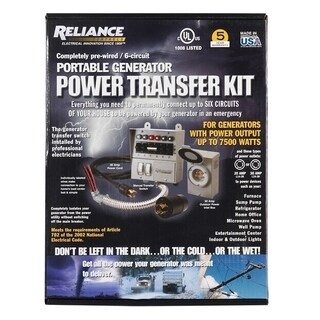 Reliance Controls 30 amps 2 space 6 circuits 240 volts Wall Double Pole, Tandem Generator Power Transfer Kit