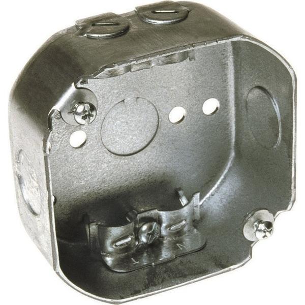 Raco 3-1/2 in. H Octagon 1 Gang Junction Box 1/2 in. Gray Steel