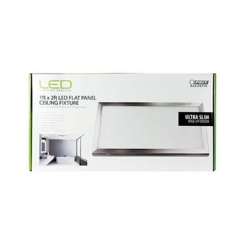 FEIT Electric LED Flat Panel Nickel Ceiling Fixture 12 in. D x 3/4 in. H x 24 in. W