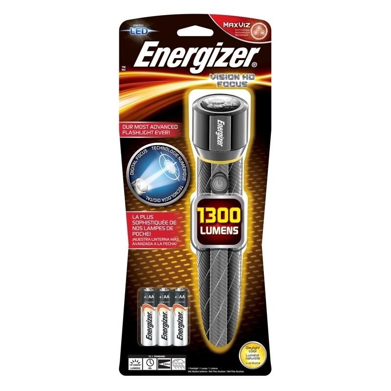 Energizer Vision HD 1300 lumens Flashlight LED AA Black, ...