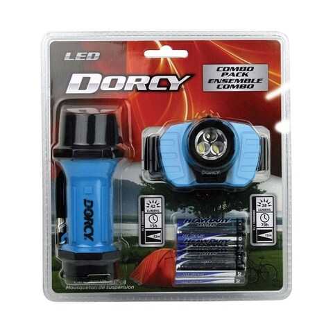 Dorcy 27 lumens Flashlight and Headlight Combo Pack LED AAA Assorted