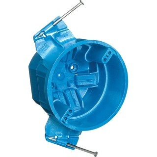 Carlon 3 in. H Round 1 Gang Electrical Box Blue PVC