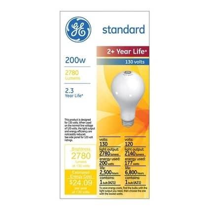 GE Incandescent Light Bulb 177/200 watts 2140/2780 lumens 2800 K A-Line A21 Medium Base (E26)