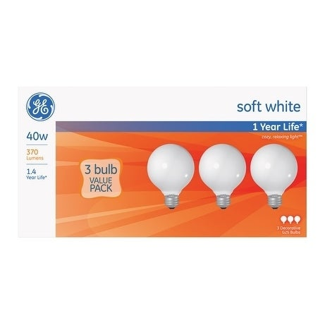 GE Incandescent Light Bulb 40 watts 370 lumens 2800 K Glo...