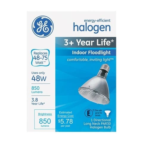 GE Halogen Light Bulb 48 watts 850 lumens Floodlight PAR30 Medium Base (E26) White 1 pk