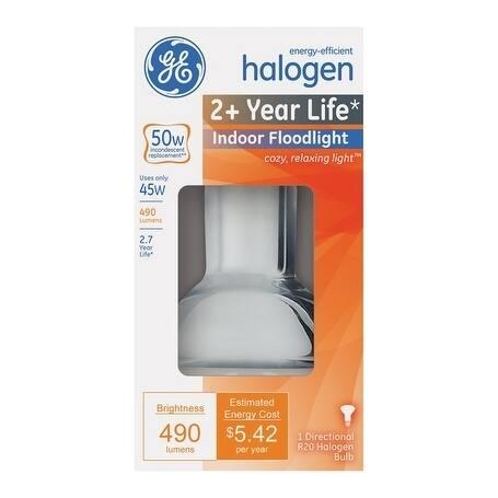 GE Halogen Light Bulb 45 watts 490 lumens Floodlight R20 Medium Base (E26) White 1 pk
