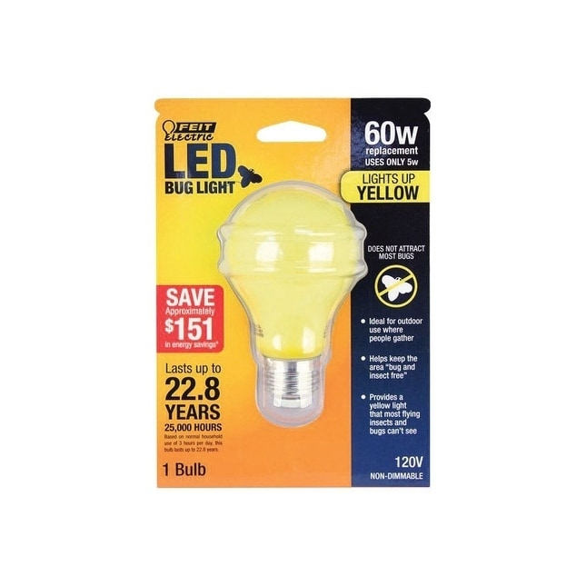 FEIT Electric LED Bulb 5 watts 400 lumens A-Line A19 Yell...