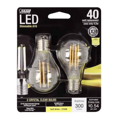 FEIT Electric Performance LED Bulb 4.5 watts 300 lumens 2700 K A-Line A15 Soft White 40 watts equivalency
