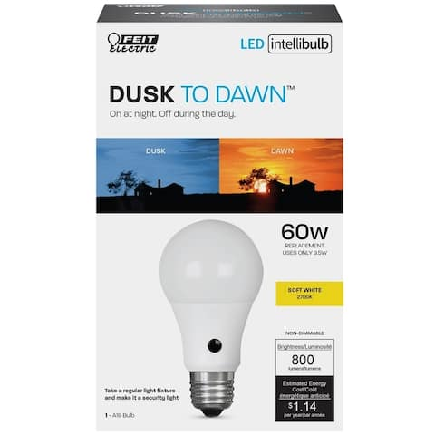 FEIT Electric Intellibulb LED Dusk To Dawn Light Bulb 9.5 watts 800 lumens 2700 K A-Line A19 Soft White