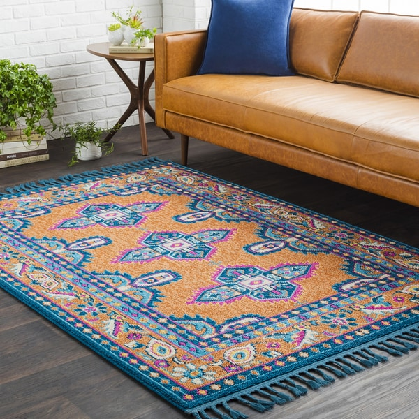 Blue/Orange Boho Medallion Tassel Area Rug - 9'3 x 12'1