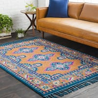 "Blue/Orange Boho Medallion Tassel Area Rug - 9'3"" x 12'1"""