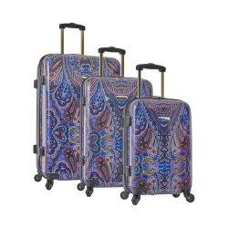 Anne Klein Plano 3-Piece Hardside Luggage Set Purple Paisley