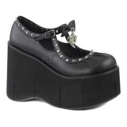 Women's Demonia Kera 14 Mary Jane Black Vegan Leather