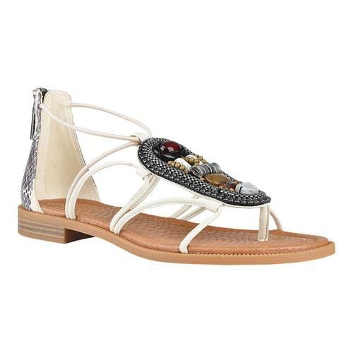 b9bdf743c57b Shop Women s Nine West Grinning Flat Sandal Off White and Black Off White  Synthetic - Free Shipping On Orders Over  45 - Overstock.com - 15300734