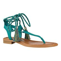 Women's Nine West Gannon Thong Sandal Dark Turquoise Synthetic