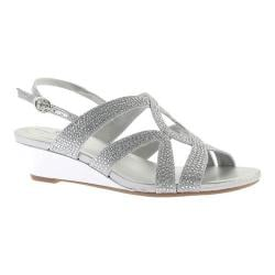 Women's Bandolino Gomeisa Wedge Slingback Silver Glamour Fabric