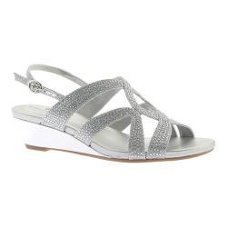Women's Bandolino Gomeisa Wedge Slingback Silver Glamour Fabric