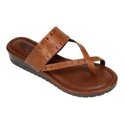 Women's Cliffs by White Mountain Shawnie Toe Loop Sandal Tan Burnished Smooth Polyurethane