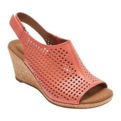 Women's Rockport Briah Perfed Slingback Coral Full Grain Leather