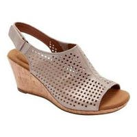 Women's Rockport Briah Perfed Slingback Multi Khaki Full Grain Leather