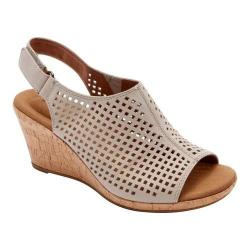 Women's Rockport Briah Perfed Slingback Taupe Full Grain Leather
