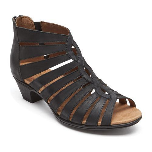 a9856f3da Women  x27 s Rockport Cobb Hill Abbott Gladiator Sandal Black Leather