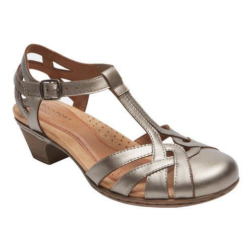 Women's Rockport Cobb Hill Aubrey T Strap Sandal Pewter Leather - Free  Shipping Today - Overstock.com - 21823619
