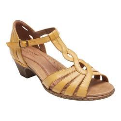 Women's Rockport Cobb Hill Abbott Curvy T-Strap Sandal Amber Leather