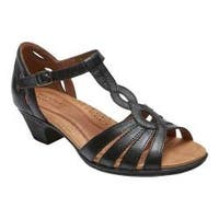 Women's Rockport Cobb Hill Abbott Curvy T-Strap Sandal Black Leather