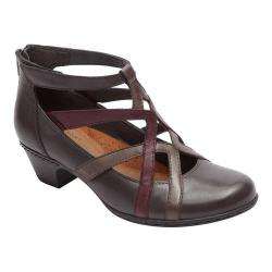 Women's Rockport Cobb Hill Adrina Cross-Strap Low Heel Grey Leather