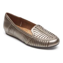 Women's Rockport Cobb Hill Galway Woven Loafer Pewter Leather