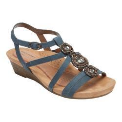 Women's Rockport Cobb Hill Hannah T-Strap Sandal Blue Nubuck