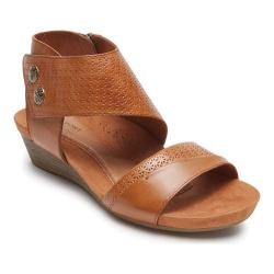 Women's Rockport Cobb Hill Hollywood 2 Piece Cuff Sandal Tan Leather