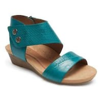 Women's Rockport Cobb Hill Hollywood 2 Piece Cuff Sandal Teal Leather