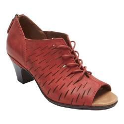 Women's Rockport Cobb Hill Spencer Perfed Lace Up Red Leather
