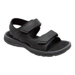 Men's Rockport Get Your Kicks Double Hook/Loop Active Sandal Black Leather