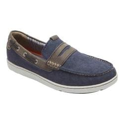 Men's Rockport Gryffen Penny Slip On Navy Canvas