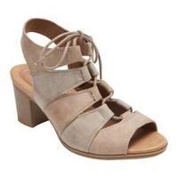 Women's Rockport Hattie Lace Up Sandal Khaki Leather