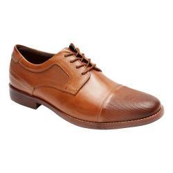 Men's Rockport Style Purpose Perf Cap Toe Blucher Cognac Full Grain Leather