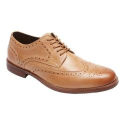 Men's Rockport Style Purpose Wing Tip Oxford Light Tan Leather