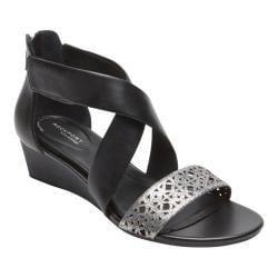 Women's Rockport Total Motion 55MM Ankle Strap Wedge Sandal Black/Pewter Leather