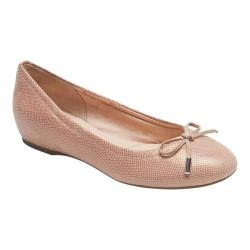 Women's Rockport Total Motion Hidden Wedge Tied Ballet Flat Pink Snake Full Grain Leather
